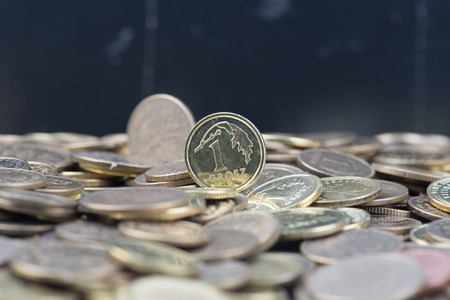 money stack: Close view on the stack of polish grosz Stock Photo