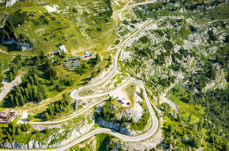 station ski: Aerial view on the ski station in summer Austria Alps