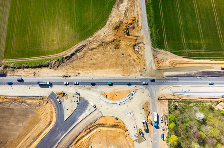 pipework: Aerial view on the new road construction site