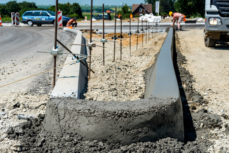 kerb: Close view on the new curb construction