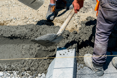 public works: Close view on the new curb construction