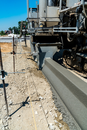 curb: Close view on the new curb construction