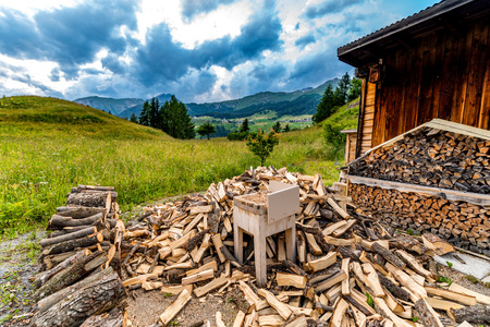 Large view on the woodshed in the mountains Stock Photo
