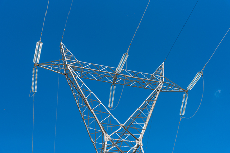 powerline: Large view on the powerline and the blue clear sky