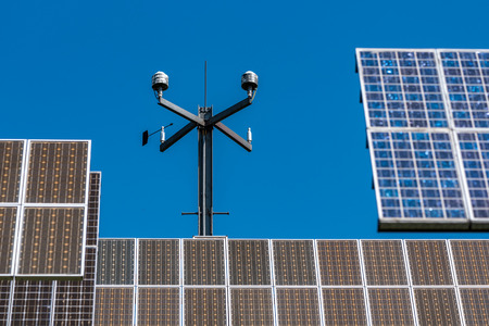 Large view on the modern solar panels Stock Photo