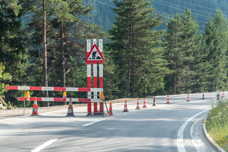 road works: Large view on the road works sign