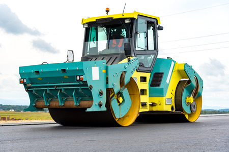 vibration machine: Close view on the road roller working on the new road construction site