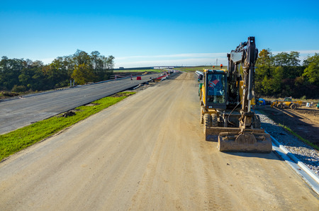 produce energy: Aerial view on the new road construction site