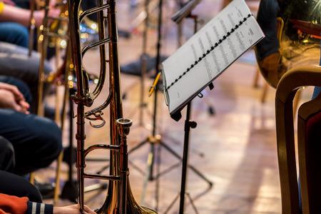 soprano saxophone: Close view on the classic instrument trombone