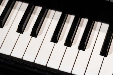 Close view on the pianos b-w keyboard Stock Photo