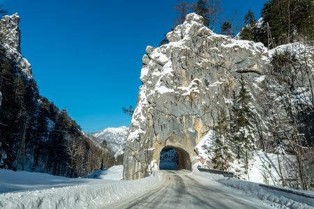 keystone light: Large view on the entrance to the tunnel in mountains