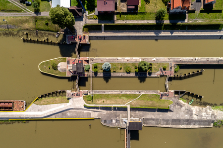 Aerial view on the dam under construction Фото со стока