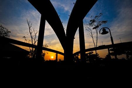 bridge silhouettes during sundown photo