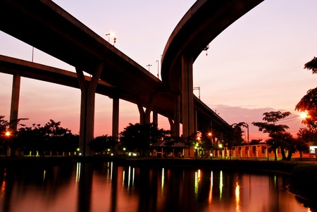 Bhumibol Bridge at evening