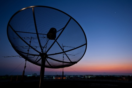 Worldwide Communication, Satellite and other antenna network with beautiful sky in evening  photo