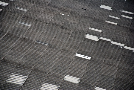 Traditional old grey and white roof tiles texture shape photo