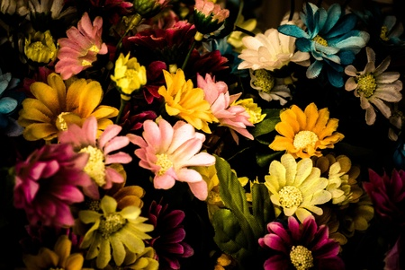 colorful cotton fabric flora or flowers with black background Stock Photo - 13272188