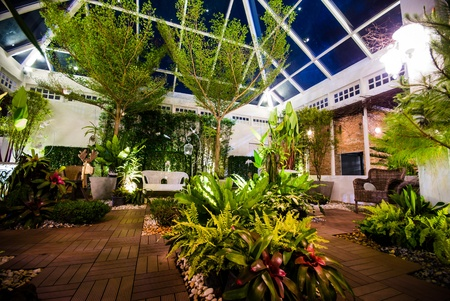 residential tree service: Beautiful garden in the night scene - opened dome