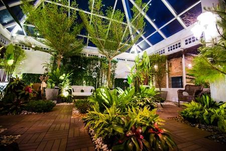 Beautiful garden in the night scene - opened dome