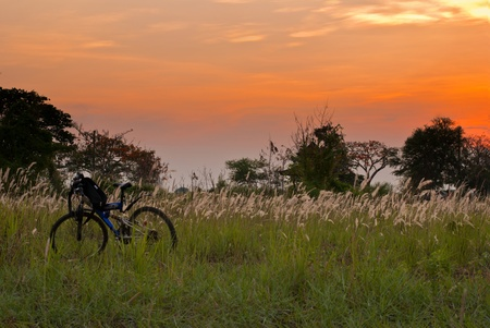 Prairie Sunset with bicycle in grass and beautiful sky and scene photo