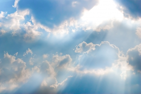 Beautiful blue sky with sun beam Stock Photo - 13689542