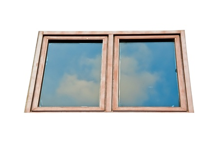 Isolated wooden glass window with reflection the sky Stock Photo - 13912284