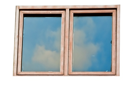 Isolated wooden glass window with reflection the sky Stock Photo - 13958624