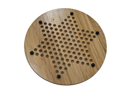 chinese checkers wooden board isolated on white -