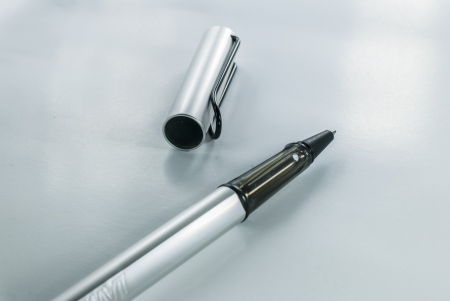 novelist: pen on white background - black fountain pen isolated - Ballpoint Pen - Black Ball Point Pen Stock Photo