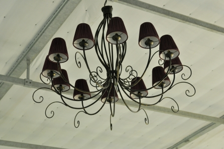 Chandelier,old Chandelier-Chandelier lit up - Retro chandelier - lamp hang on the ceiling - Beautiful arabic lamp photo