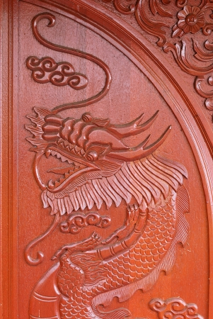 Antique wooden door with dragon texture - The Carving wood of Naga photo