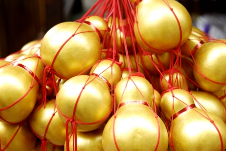 Chinese golden decorations - plastic calabash hanging - Symbol of Health and Wealth photo