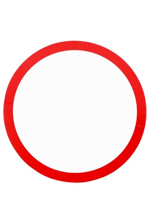 inhibition: blank circle sign on white background,isolated - Empty road signal - Blank Traffic Sign - blank circular road sign - prohibitive sign Stock Photo