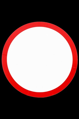 inhibition: blank circle sign on black background,isolated - Empty road signal - Blank Traffic Sign - blank circular road sign - prohibitive sign