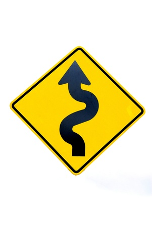 Road Sign,isolated - Curves ahead Warning photo