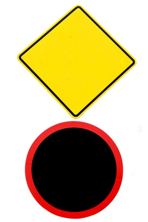 Set of 2 warning sign - Traffic sign Stock Photo - 14743578