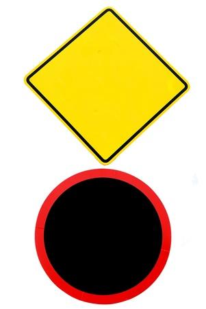 Set of 2 warning sign - Traffic sign Stock Photo - 14743578