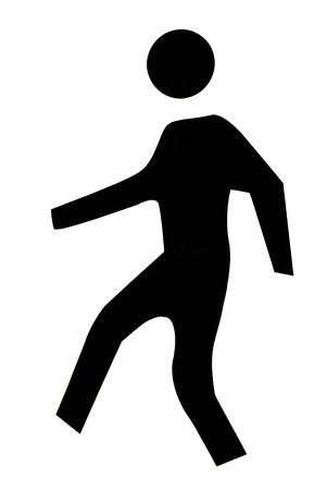 silhouette man walking isolated on white background - Icon person - people walking symbol photo