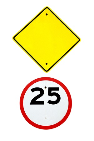 Empty Blank Sign Template And Speed Limit Road Sign On White.. Stock ...