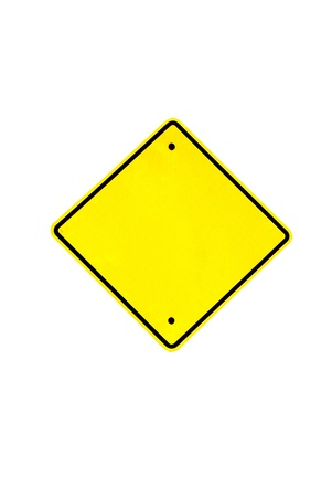 Empty yellow warning sign,isolated - Empty road signal - Blank Traffic Sign photo