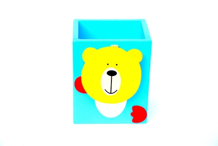 Holder basket with teddy bear doll - Back to school - Pencil box Stock Photo - 14965796