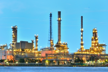 atmosphere construction: Oil refinery at twilight - Oil and gas refinery at twilight