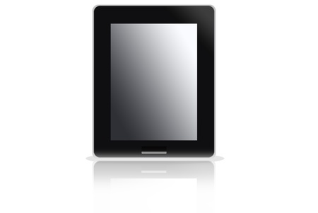 Black abstract tablet computer on white background