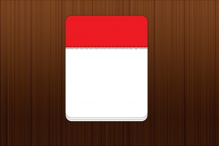Red calendar stand up on wooden background - Isolated calendar icon with white text space photo