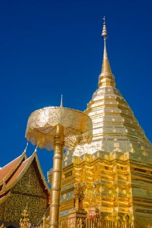 Doi suthep temple at Chaing mai Thailand - The golden Chedi at Doi Suthep Buddhist temple in Chiang Mai, Thailand  photo