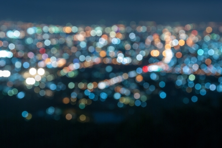 Photo of colorful bokeh lights on black background