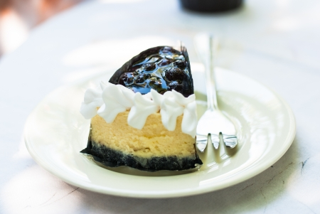 Cheesecake on a plate - Blueberry cheesecake slice with fork prepares to eat photo