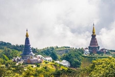 dramatically: Huge pagodas against dramatically clouds