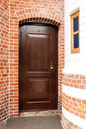 Entrance wood door photo