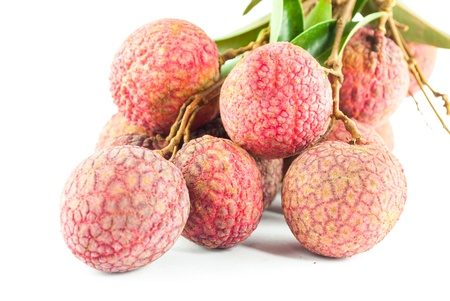 Fresh lychee isolated on white photo